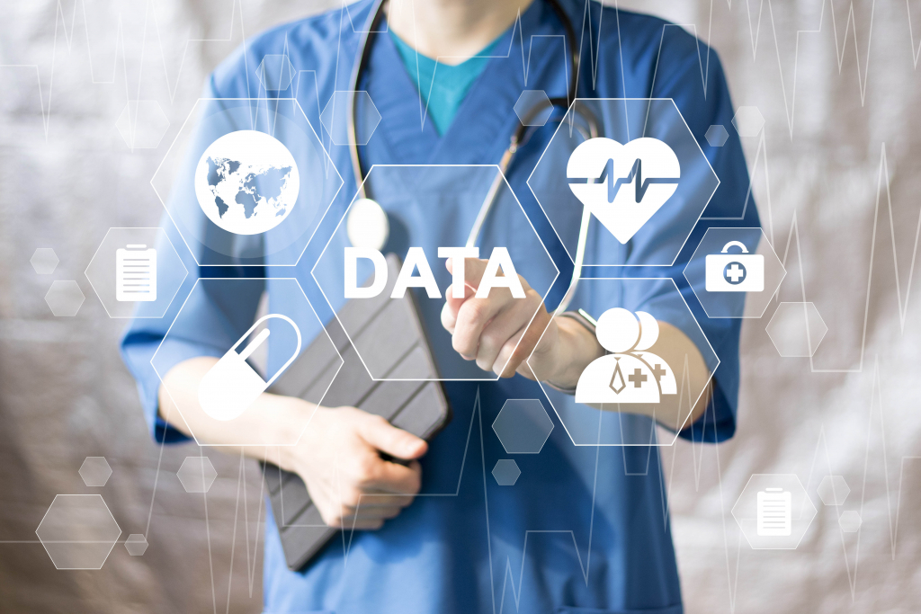 Doctor pushing button data service virtual healthcare in network